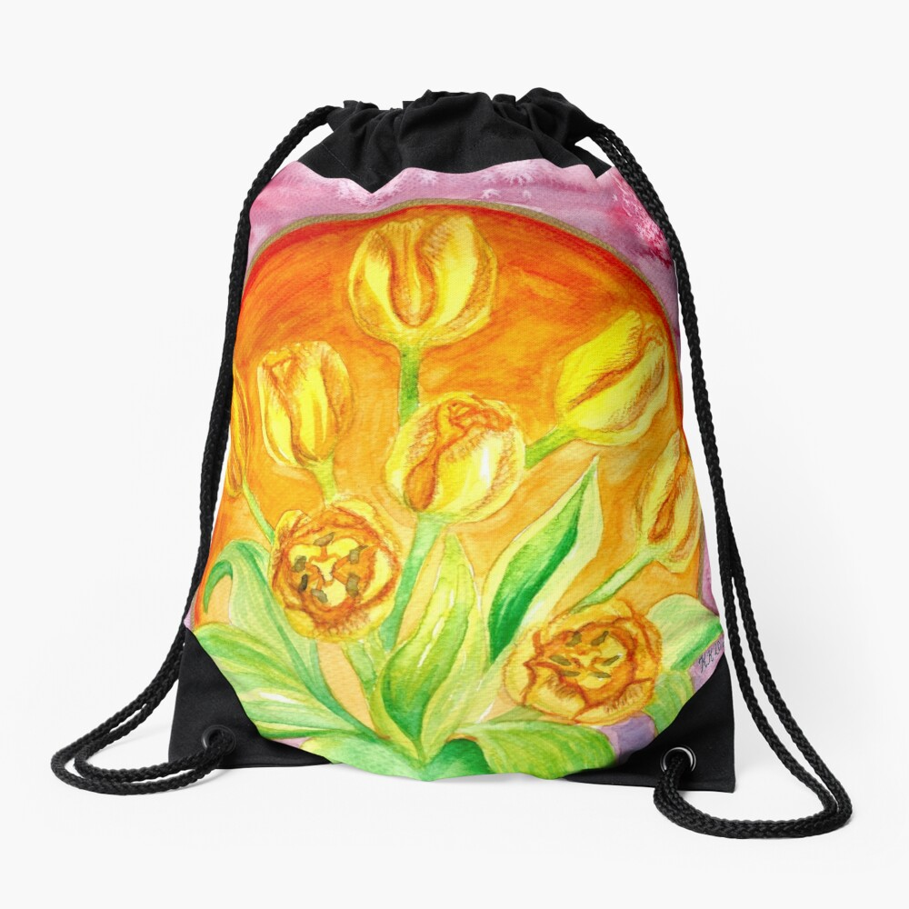 Tulip Flower Bouquet - Watercolor Painting Drawstring Bag