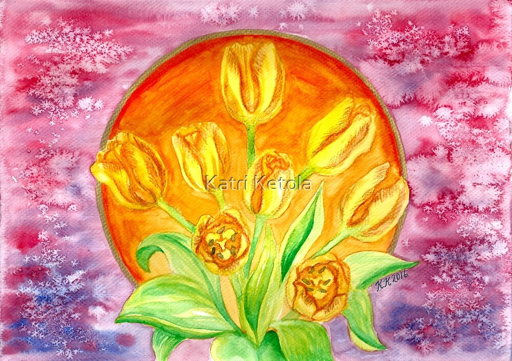 Tulip Flower Bouquet - Watercolor Painting by Katri Ketola