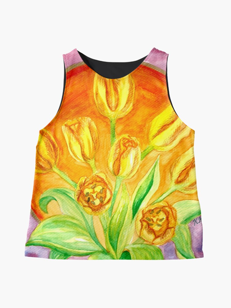 Alternate view of Tulip Flower Bouquet - Watercolor Painting Sleeveless Top