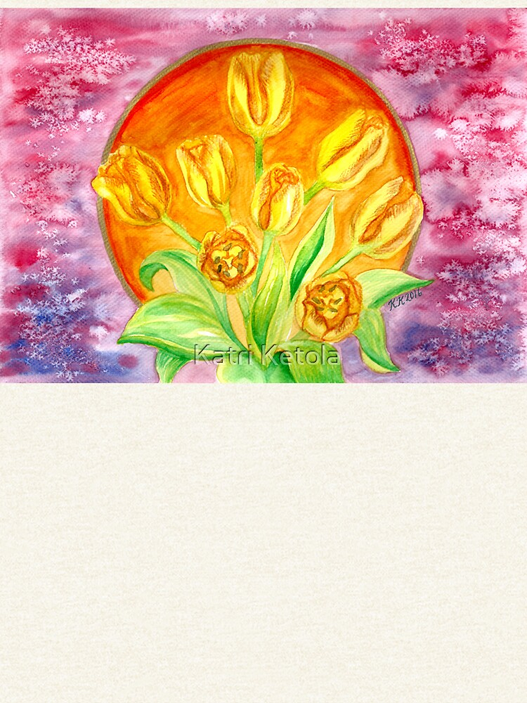 Tulip Flower Bouquet - Watercolor Painting by Almonda
