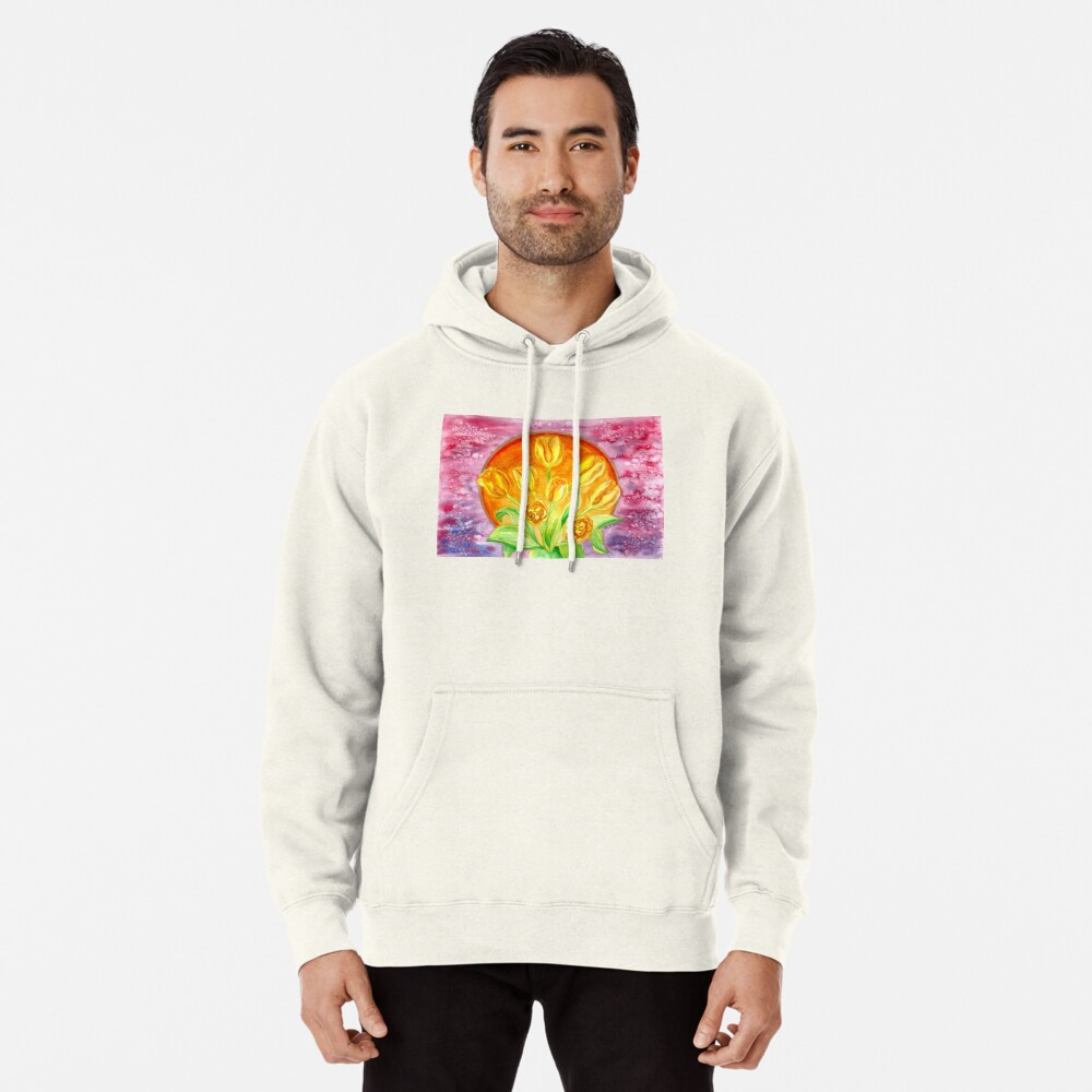 Tulip Flower Bouquet - Watercolor Painting Pullover Hoodie