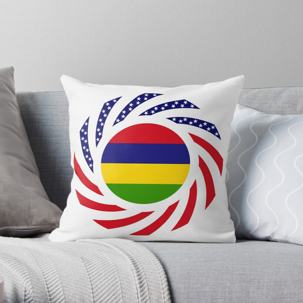 Mauritian American Multinational Patriot Flag Series Throw Pillow