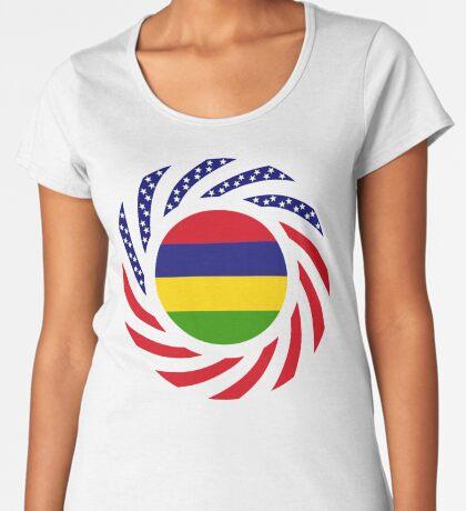 Mauritian American Multinational Patriot Flag Series Premium Scoop T-Shirt