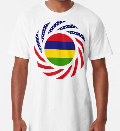 Mauritian American Multinational Patriot Flag Series Long T-Shirt