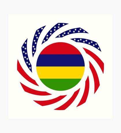Mauritian American Multinational Patriot Flag Series Art Print