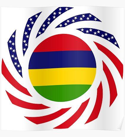 Mauritian American Multinational Patriot Flag Series Poster