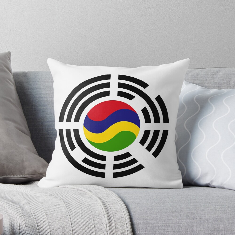 Mauritian Korean Multinational Patriot Flag Series Throw Pillow