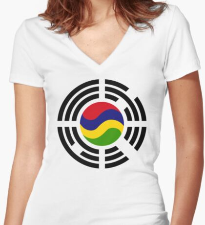 Mauritian Korean Multinational Patriot Flag Series Fitted V-Neck T-Shirt