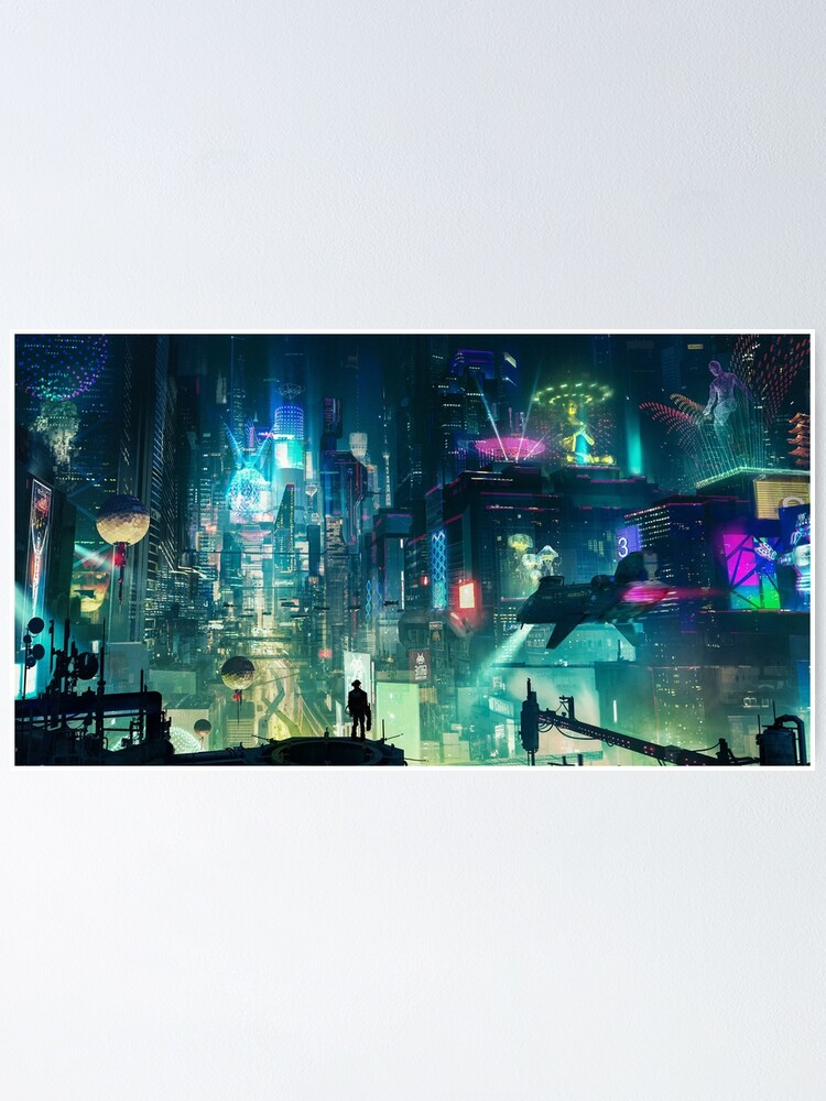 Alternate view of Mega City Nights Futuristic Tokyo Poster