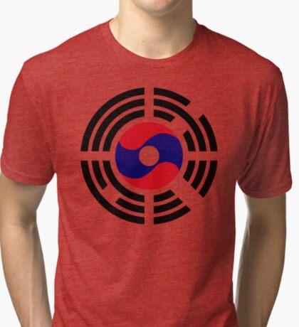 Lao Korean Multinational Patriot Flag Series Tri-blend T-Shirt