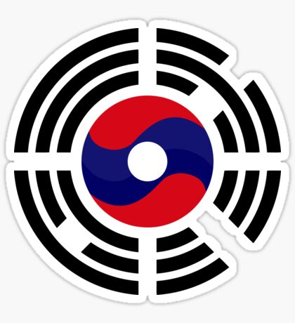Lao Korean Multinational Patriot Flag Series Glossy Sticker