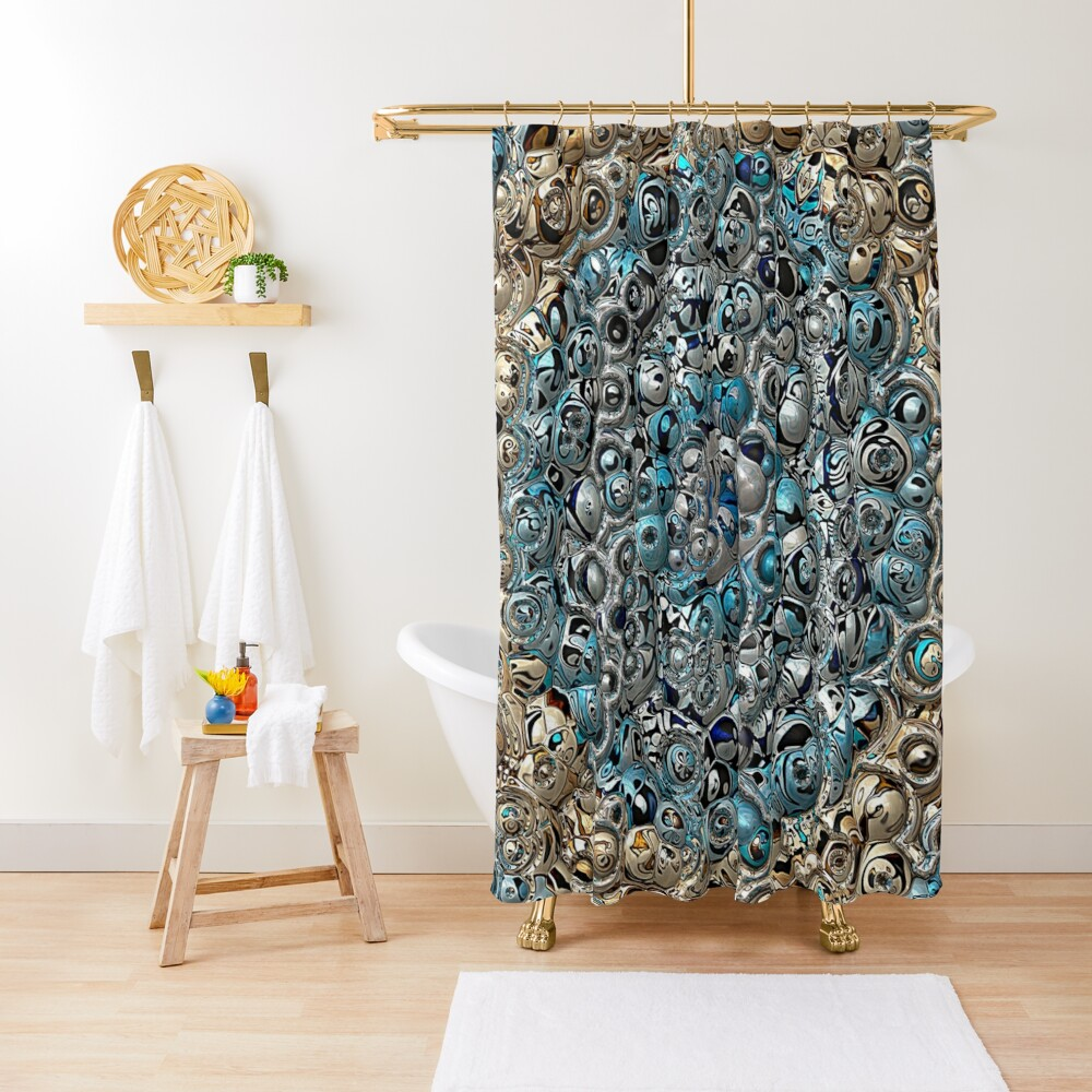 Blue And Beige 3D Abstract Shower Curtain