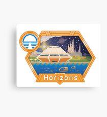 Horizons EPCOT Pavilion Pixel Art Mit Sea Base Alpha, Mesa Verde, Brava Centauri und dem Prolog und dem Versprechen von Robert McCall Leinwanddruck