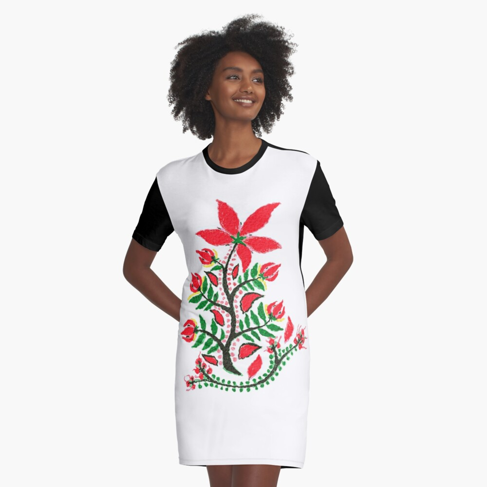 Red Summer Flower  Graphic T-Shirt Dress