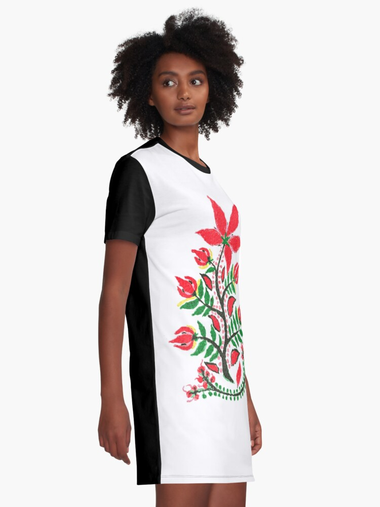 Alternate view of Red Summer Flower  Graphic T-Shirt Dress