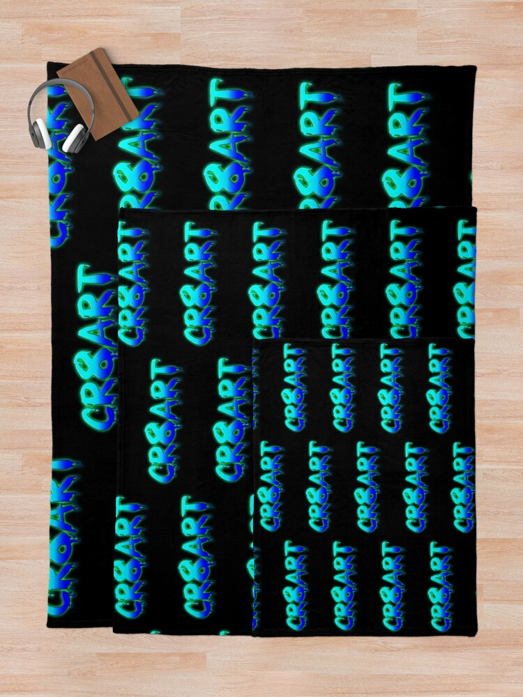 Alternate view of Create Art! - Turquoise and Blue on Black Throw Blanket