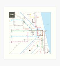 Lámina artística Mapa del metro de Chicago