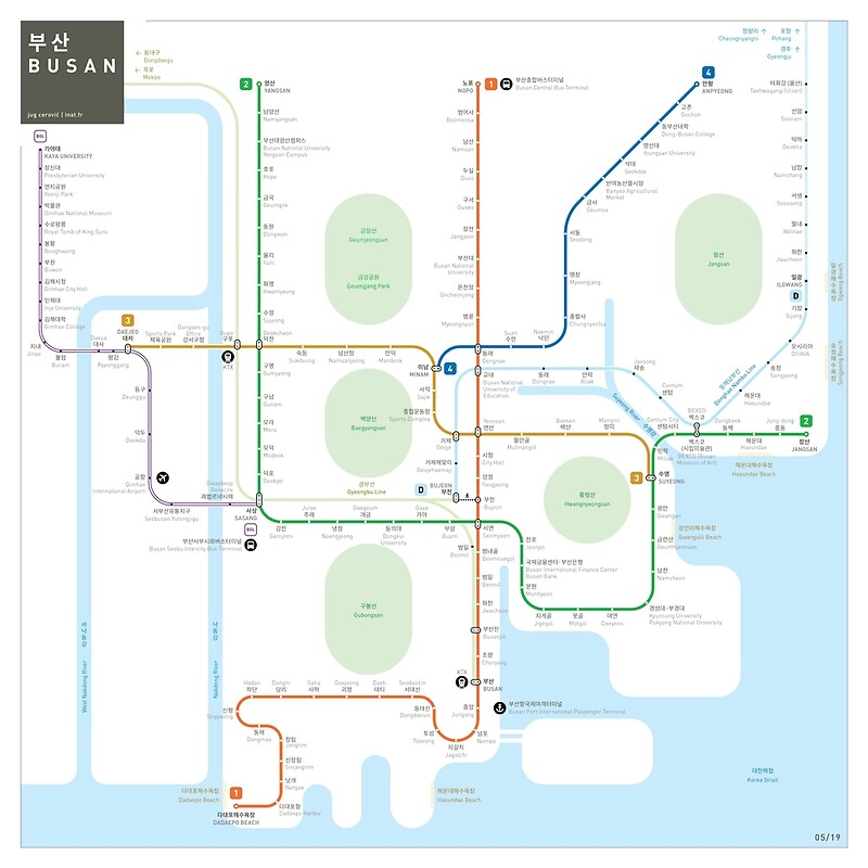 Subway Map Of Busan.Busan Metro Map Art Print