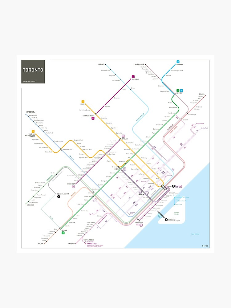 Toronto Subway Map Print.Toronto Metro Map Photographic Print