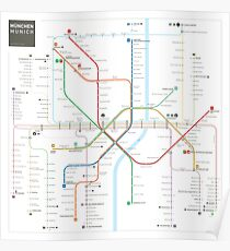 Munich Subway Map.U Bahn Posters Redbubble