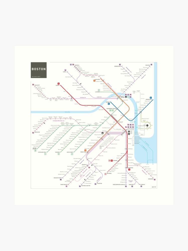 Subway Map Art Boston.Boston Metro Subway Map Art Print