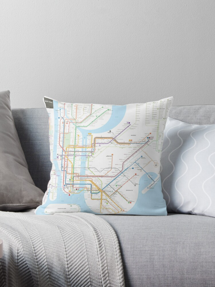How To Read A New York City Subway Map.New York City Subway Map Throw Pillow By Jug Cerovic