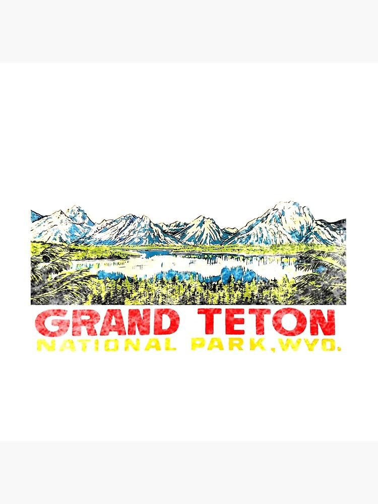 Grand Teton Nationalpark Vintage Travel Aufkleber 2 von hilda74