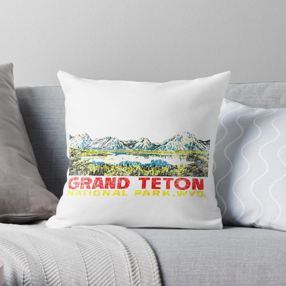 Grand Teton Nationalpark Vintage Travel Aufkleber 2 Dekokissen