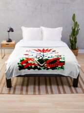 Forest Fire Flower Throw Blanket