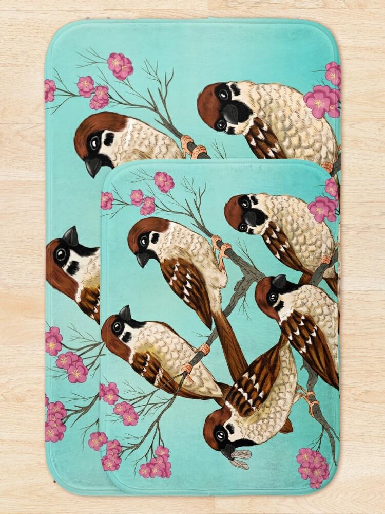 Alternate view of Sakura Sparrows Bath Mat