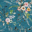 La Boheme Teal Floral  by Esther  Fallon Lau