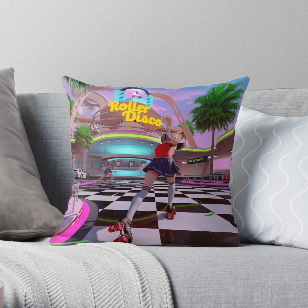 Roller Disco Throw Pillow