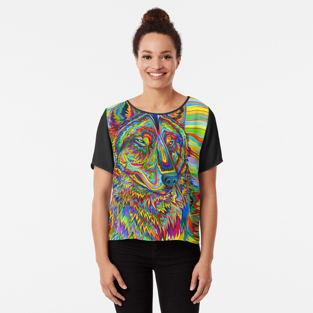 Colorido Psychedelic Rainbow Wolf Blusa