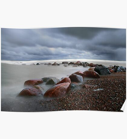 Stormy weather with mist waves Poster