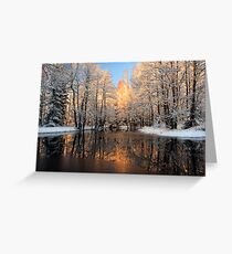 Reflection trees with sunlight Greeting Card