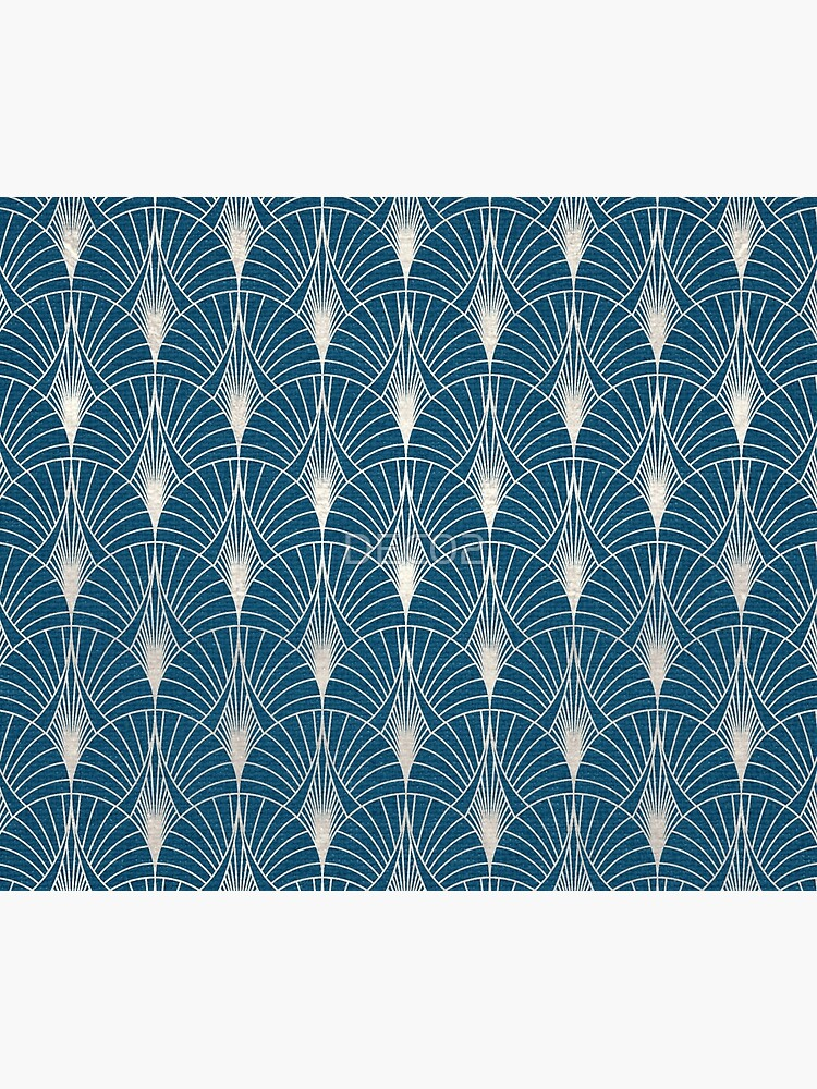 Turquoise and Silver Art Deco Pattern by DEC02