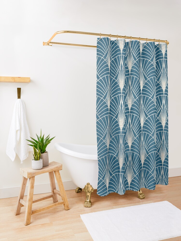 Alternate view of Turquoise and Silver Art Deco Pattern Shower Curtain