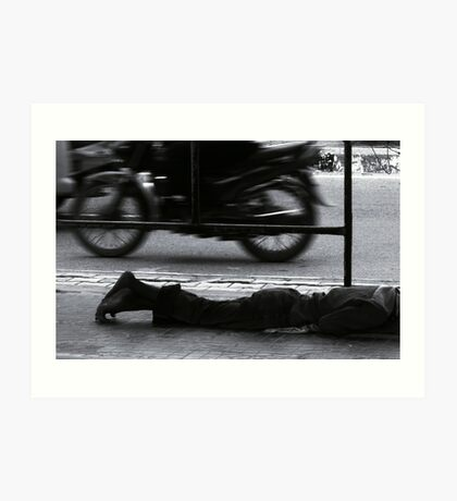 homeless at the bus-stop Art Print