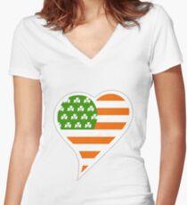 Irish American Women's Fitted V-Neck T-Shirt