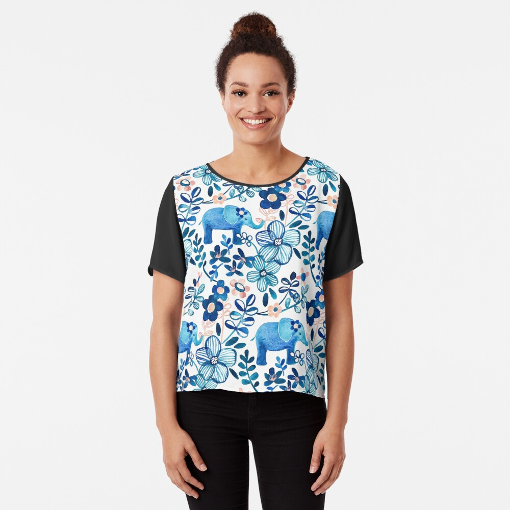 Blush Pink, White and Blue Elephant and Floral Watercolor Pattern Chiffon Top