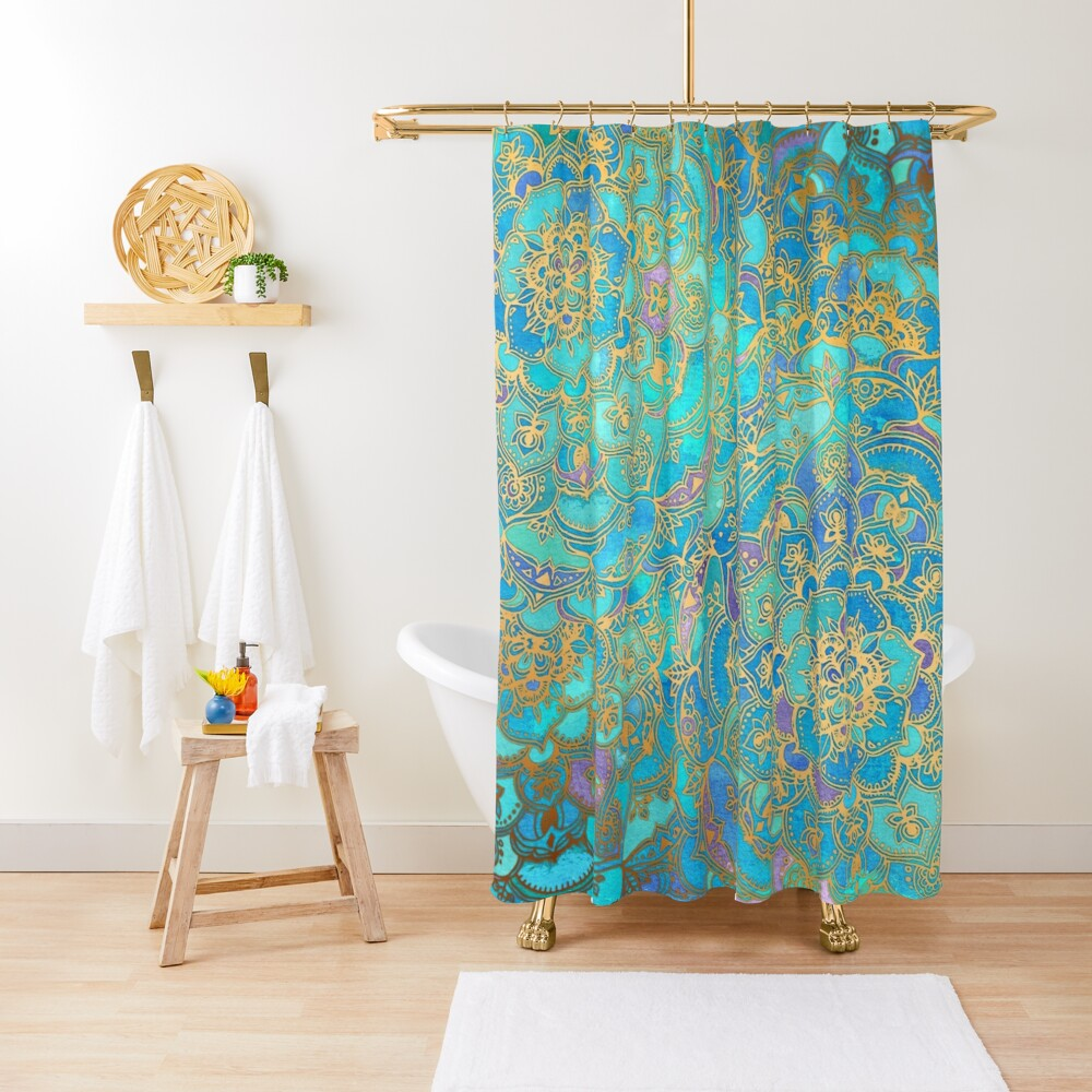 Sapphire & Jade Stained Glass Mandalas Shower Curtain