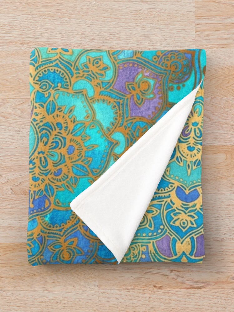 Alternate view of Sapphire & Jade Stained Glass Mandalas Throw Blanket