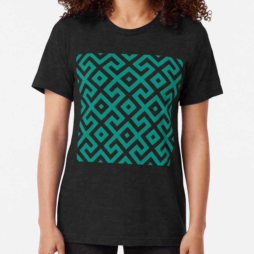 Geometric Pattern: Spider: Green Tri-blend T-Shirt