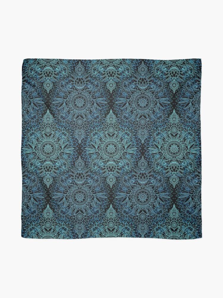 Alternative Ansicht von Schwarzes, aquamarines u. Aqua-Protea-Gekritzel-Muster Tuch