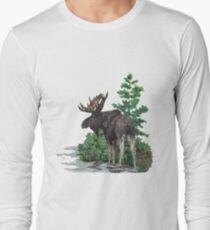 Moose watercolor  Long Sleeve T-Shirt