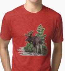 Moose watercolor  Tri-blend T-Shirt