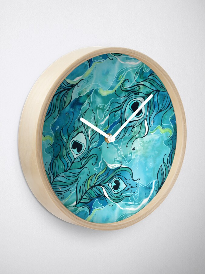 Alternate view of Peacock Feathers Clock