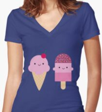 Summer Ice Cream Treats Women's Fitted V-Neck T-Shirt