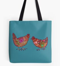Red Chickens Tote Bag