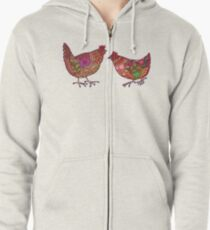 Red Chickens Zipped Hoodie
